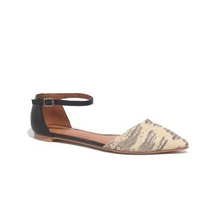 Madewell Beatrice Ankle Strap Skimmer Pointed Flats